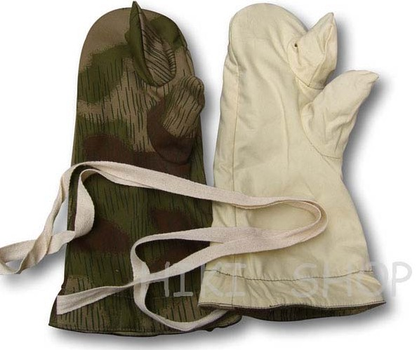 WWII German tan & water Camo Reversible Winter Mittens